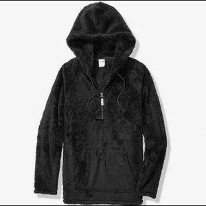 Vs pink teddy Sherpa half zip hoodie large new